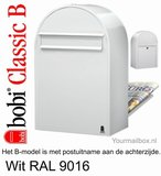 Brievenbus Bobi Classic B wit RAL 9016_