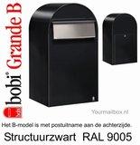 Brievenbus Bobi Grande B structuurzwart RAL 9005_