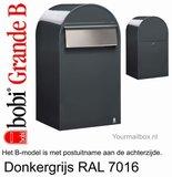 Brievenbus Bobi Grande B donkergrijs RAL 7016_