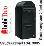 Brievenbus Bobi Duo structuurzwart RAL 9005_
