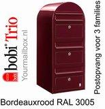 Brievenbus Bobi Trio bordeauxrood RAL 3005_