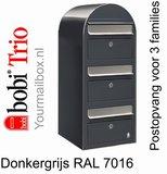 Brievenbus Bobi Trio donkergrijs RAL 7016 met RVS klep_