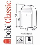 Brievenbusset Bobi Classic + Statief wit RAL 9016_
