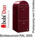 Brievenbus Bobi Duo bordeauxrood RAL 3005_