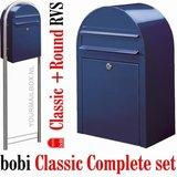 Brievenbusset Bobi Classic donkerblauw RAL 5003 + Statief RVS_