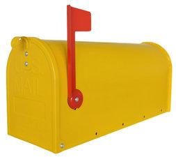 Amerikaanse brievenbus mailbox staal geel