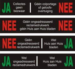 JA/NEE stickers brievenbus