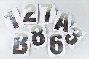 Huisnummer/container stickers Zilver RVS-look 10 CM