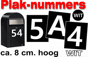 Huisnummer / container stickers Wit 8CM