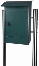 Grote brievenbus Zandvoort zwart/groen mat - incl. RVS statief