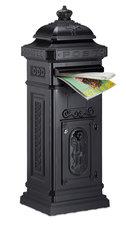 Kolom brievenbus met kroontje zwart glans