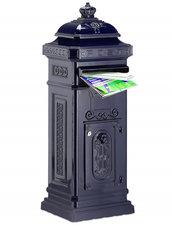 Kolom brievenbus met kroontje donkerblauw
