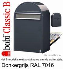 Brievenbus Bobi Classic B donkergrijs RAL 7016 met RVS klep