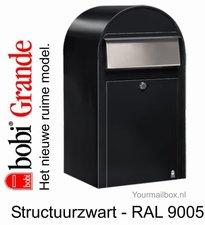 Brievenbus Bobi Grande structuurzwart RAL 9005