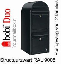 Brievenbus Bobi Duo structuurzwart RAL 9005