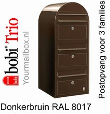 Brievenbus Bobi Trio donkerbruin RAL 8017