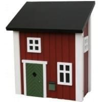 Houten brievenbus Zweeds posthus rood