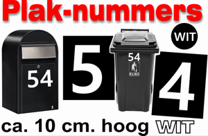 Huisnummer / container stickers Wit 10CM