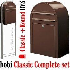 Brievenbusset Bobi Classic donkerbruin RAL 8017 + Statief RVS