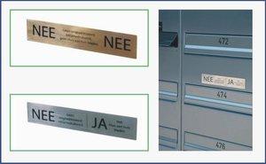 RVS plaatje NEE/NEE geen reclamedrukwerk