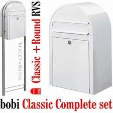 Brievenbusset Bobi Classic wit RAL 9016 + Statief RVS