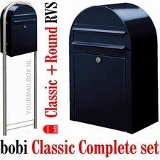 Brievenbusset Bobi Classic zwartblauw RAL 5004 + Statief RVS
