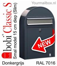 Bobi brievenbus Classic S donkergrijs  RAL 7016 met rvs klep
