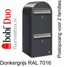 Brievenbus Bobi Duo donkergrijs RAL 7016 met RVS klep