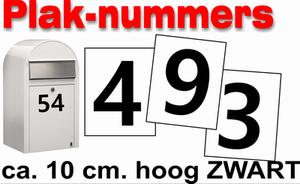 Huisnummer / container stickers Zwart 10CM
