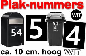 Huisnummer / container stickers Wit 10CM