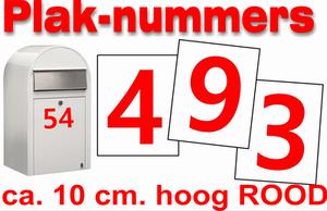 Huisnummer / containter stickers Hoogglans Rood 10CM