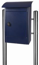 Grote brievenbus Zandvoort zwart/blauw mat - incl. RVS statief