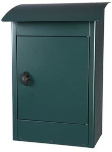 Grote brievenbus Zandvoort zwart/groen mat