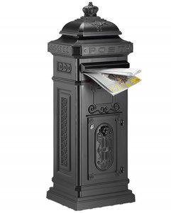 Kolom brievenbus met kroontje donkergrijs