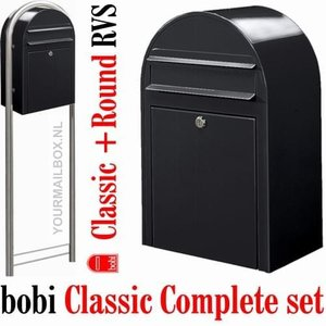 Brievenbusset Bobi Classic structuur zwart RAL 9005 + Statief RVS