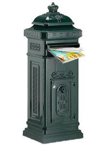 Kolom brievenbus met kroontje groen