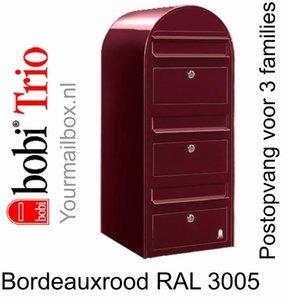 Brievenbus Bobi Trio bordeauxrood RAL 3005