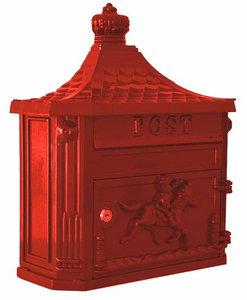 Nostalgische brievenbus aluminium rood
