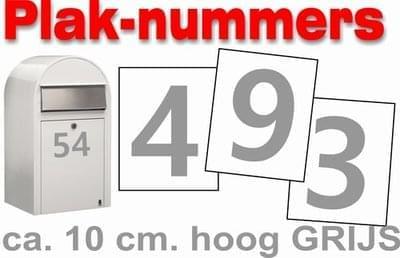 Huisnummer / container stickers Grijs 10CM