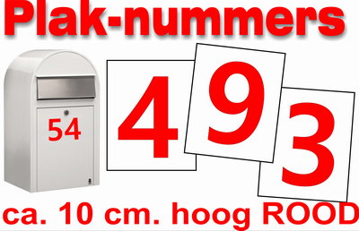 Huisnummer / containter stickers Hoogglans Rood 10CM